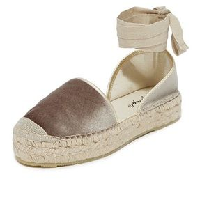 NEW Free People Taupe Velvet Lace Up Espadrilles